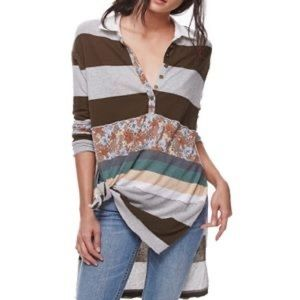 Free People Elodie Stripe Floral Henley Tunic